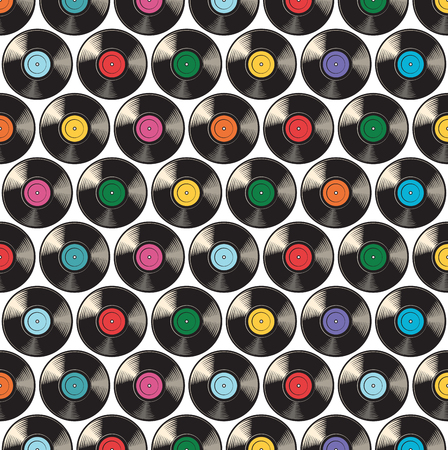 background pattern with vinyl discs or records