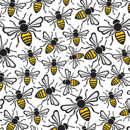 background pattern with bees Illustration