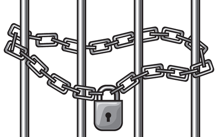 locked gate - illustration of chain and padlock