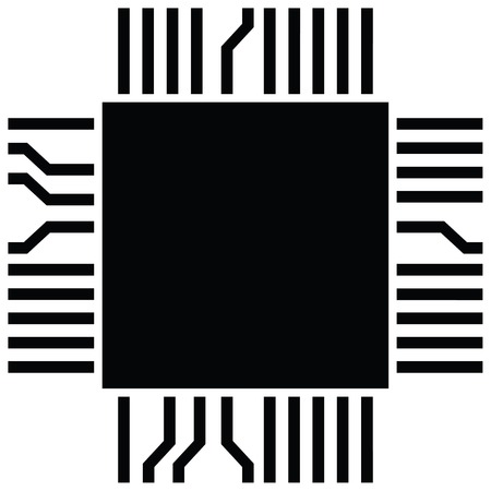 computer microchip electronic component Illustration