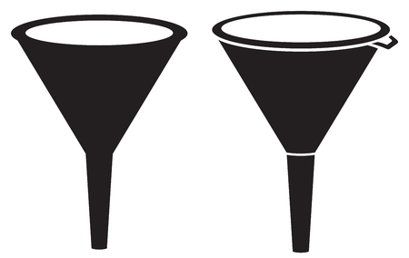 illustration of funnel plastic funnel for transferring liquid