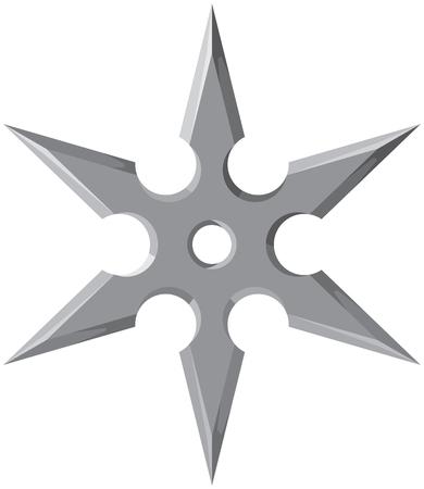 Ninja star – shuriken vector illustration Çizim