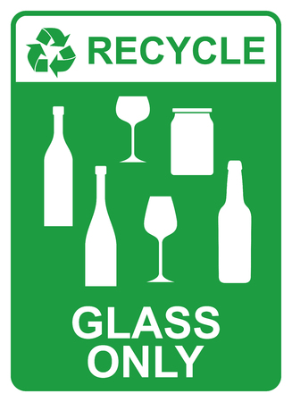 recycle vector sign - glass only