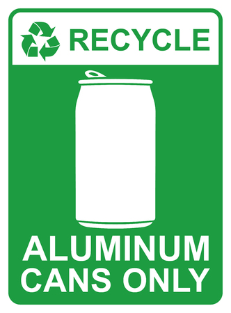 recycle vector sign - aluminum cans only Ilustracja