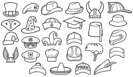 Different types of hats thin line icons set (cowboy, pirate, baseball cap, chef, police officer, military beret, wizard, Robin Hood, viking helmet, sombrero, captain, fedora, fez, cyclist)