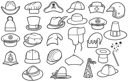 Different types of hats thin line icons set (cowboy, pirate, baseball cap, gentleman, chef, medical nurse, police officer, beret, Russian winter cap, magician, safari, hunter,pilgrim)