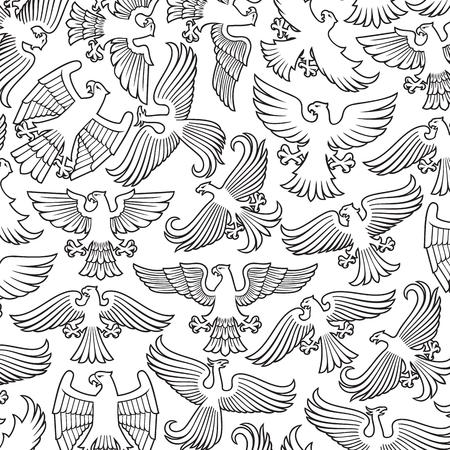heraldic eagles thin line icons set Ilustracja