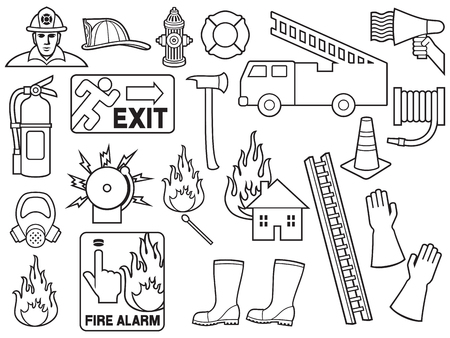 firefighters thin line icons collection