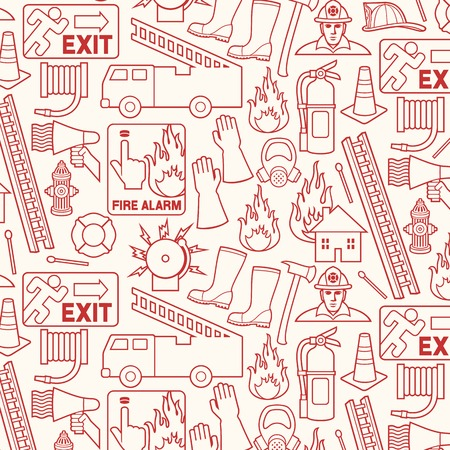 Background pattern with firefighters icons
