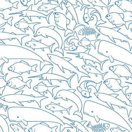 background pattern with fish thin line icons (dolphin, bone, carp, shark, whale, swordfish, piranha, tuna)