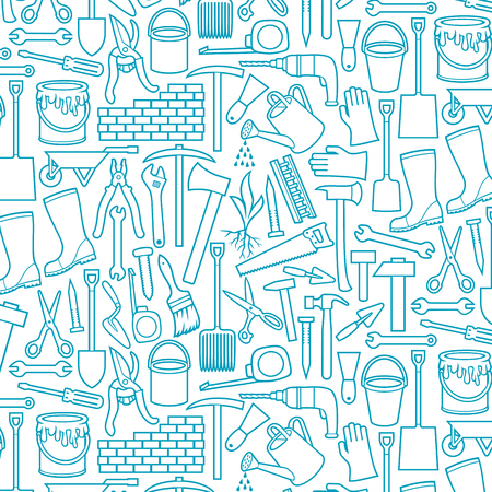 Garden tools icons set - black silhouettes (ax, pick, hammer, shovel, rake, scissors, nail, wrench, paint roller, shears, wheelbarrow, trowel, watering can, brick wall) Ilustração