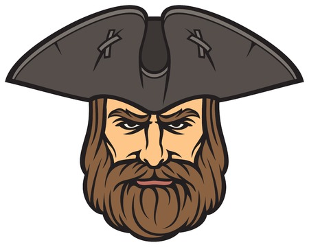 Pirate head with sailor hat Ilustracja
