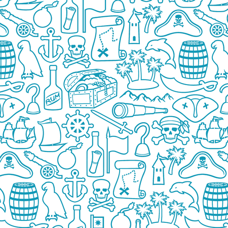 background pattern with pirates thin line icons set (sabre, skull with bandanna and bones, hook,triangle hat, old ship, spyglass, treasure chest, cannon, anchor, rudder, mountain, map, barrel, rum)