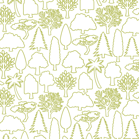 background pattern with trees thin line icons