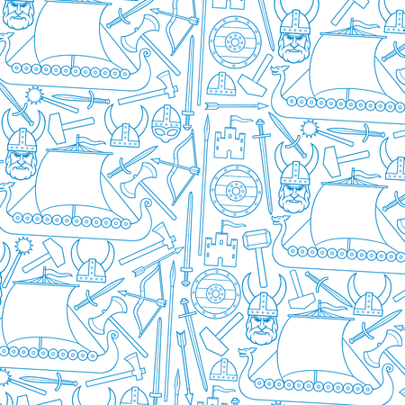 background pattern with viking thin line icons (sword, round wooden shield, long ship, head with horned helmet, mace, hammer, arrow, bow, axe, tower, old castle)