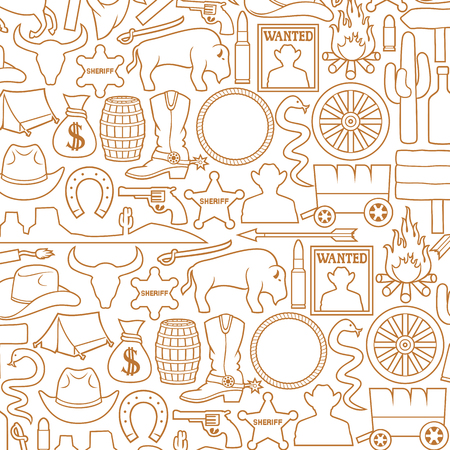 Background pattern with Wild West icons