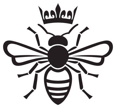 królowa pszczół z ilustracji wektorowych korony