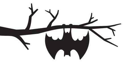 Fledermaus hängt von Baumvektorillustration