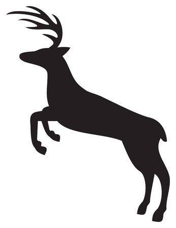 Ilustración de vector de silueta de ciervo saltando