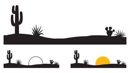 Desert landscape with cactus and plants 版權商用圖片 - 134875186