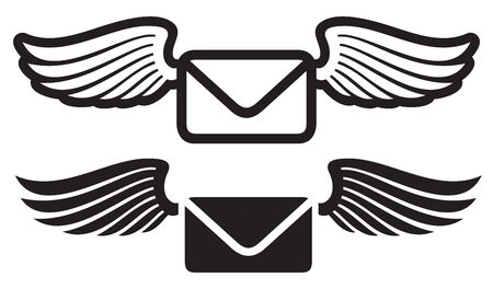 e-mail with wings vector (envelope icon)