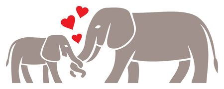 Mom and Baby Elephant vector illustration