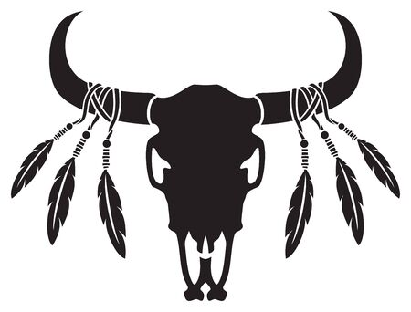 Native American bull or cow skull with feathers (vector illustration) 矢量图像