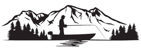 Fisherman in a boat and mountain landscape (vector illustration)