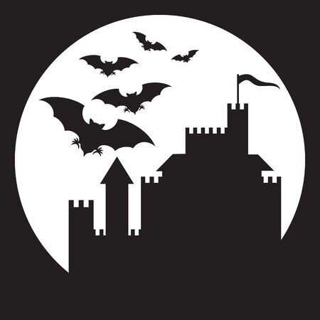 Flying bats and old castle  (halloween background)