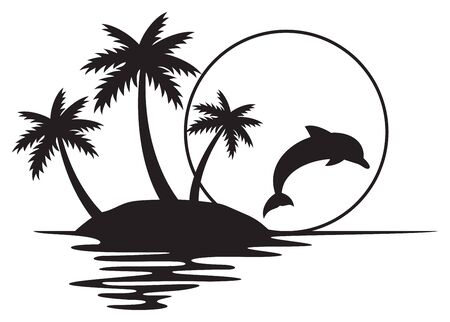 Illustration of tropical island with palms, sunset and dolphin (summer design) 矢量图像
