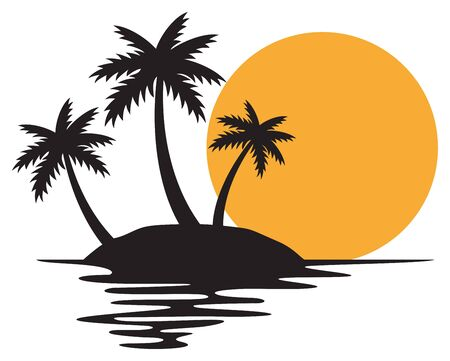 illustration of tropical island with three palms