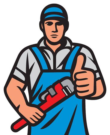 Plumber holding a wrench and showing thumbs up (plumbing services design) 矢量图像
