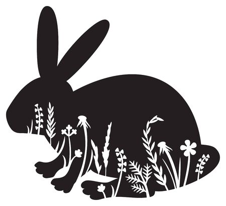 Floral Bunny (Rabbit) vector illustration