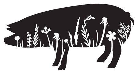 Floral pig (grass silhouette, flowers and plants).