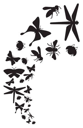 Flying Insects (dragonfly, bee, butterfly, ladybug). 矢量图像