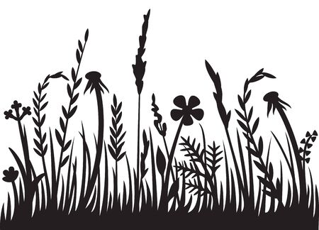 Grass silhouette vector illustration design (flowers and plants).