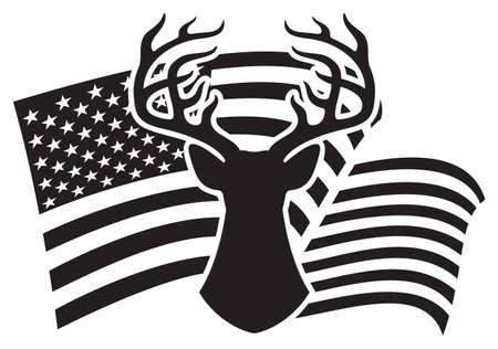 Deer head and USA flag (hunting design, United States of America).
