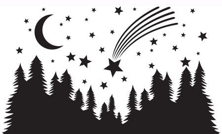 Starry night. Forest, night moon and falling or shooting star silhouette vector background.