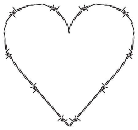 barb or barbed wire heart vector illustration 矢量图像