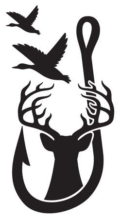 Duck, Deer and Hook (Hunting design, Gone Fishing).