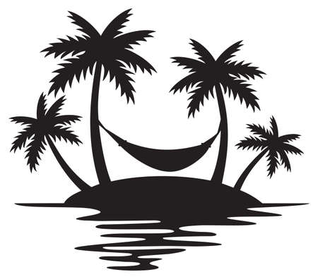 Tropical Island, Palm Trees and Hammock (Summer Design, Beach Silhouette).