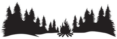 Landscape - camping in mountains (campfire, travel design) Vecteurs