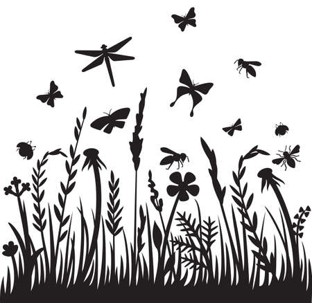 Grass silhouette and flying insects (dragonfly, bee, butterfly, ladybug). Flowers and plants vector illustration.