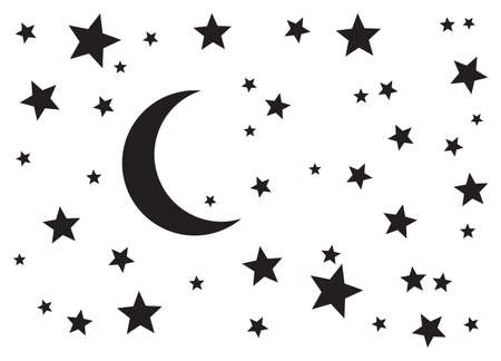 Starry night. Night moon (crescent) and stars silhouette vector background. 矢量图像