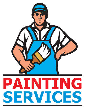 Painting services design - a professional painter holding a paint brush