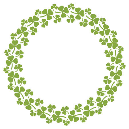 Wreath of clover with three leaves circle - Shamrock design
