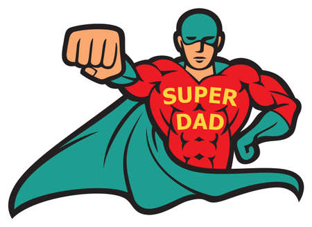 Super dad - superhero vector illustration