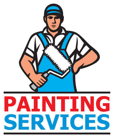 Painting services design - a professional painter holding a paint roller