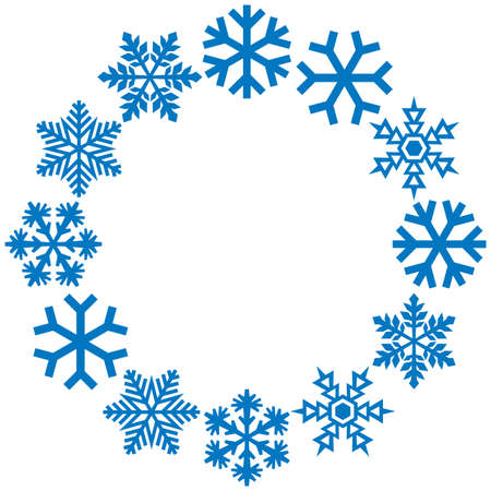 Snowflakes circle or frame vector illustration 矢量图像