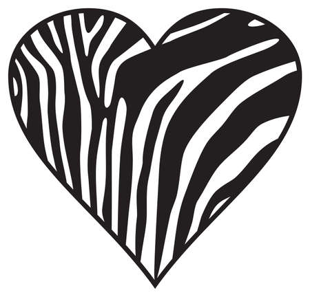 Zebra heart (wild animal skin - print background). 矢量图像